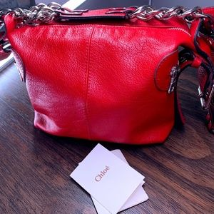 CHLOE RED LEATHER SHOULDER SIDE BAG